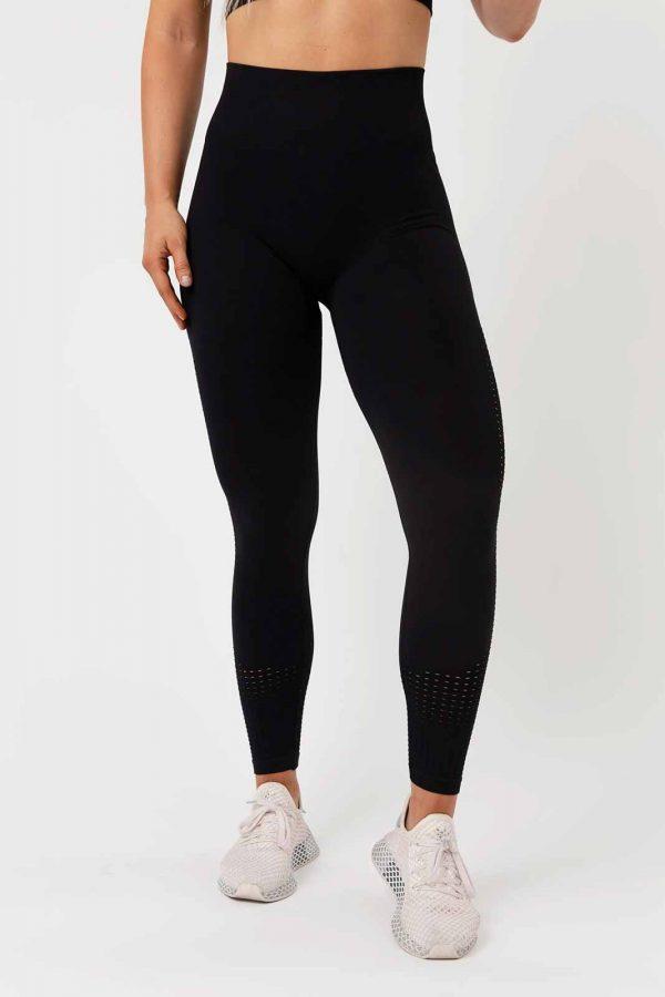 Perforated Seamless Leggings - Black, pegasus apparels, running shorts women, gym wear